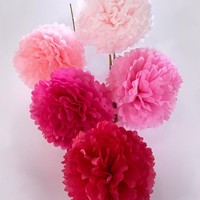 Pink Tissue Paper Poms (Set of 5)