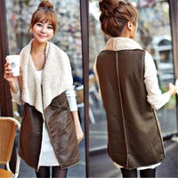 Brown Women's Fleece PU Leather Sleeveless Vest Jacket Gilet Coat Waistcoat