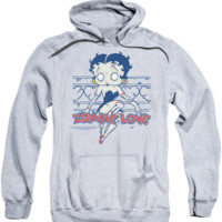 Betty Boop-Zombie Pinup-Adult Pull-Over Hoodie-Athletic Heather Licensed