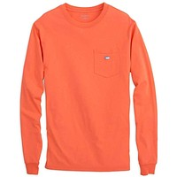 Long Sleeve Embroidered Pocket Tee in Hot Coral by Southern Tide