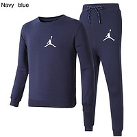 AIR JORDAN 2018 autumn and winter new simple sports suit men and women casual two-piece navy blue