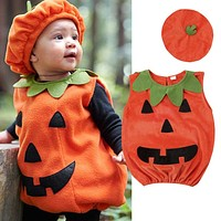 0-3Y ly Cosplay Halloween Toddler Baby Kid Pumpkin Print Sleeveless Romper Jumpsuits Tops+Hats Baby Clothes 2PCS Costumes