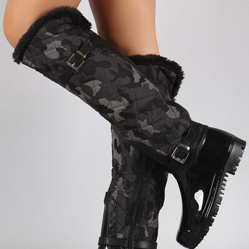Fur Cuff Camouflage Quilted Puffer Buckled Knee High Rain Boots