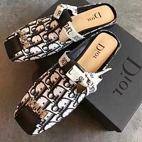 Dior Muller shoes flat slippers summer new square head color matching printed letter buckle Baotou half drag