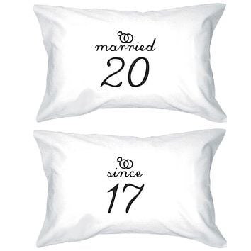 Married Since Custom Matching Couple White Pillowcases