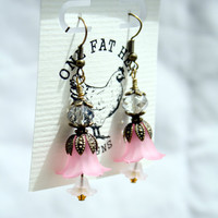 Antique bronze capped pink and white lucite flower earrings, vintage style bohemian dangle with Swarovski crystals and Czech glass beads