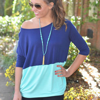 Block Party Navy & Mint Casual Top