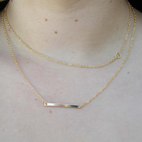 Layering Necklace Set - Delicate Gold Layer Necklaces - Layered Necklace - Heart Necklace - Rectangle Necklace - Layered Pendant Set