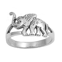 925 Sterling Silver White Elephant 11MM Ring