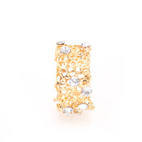 Gold Detailed Cut Out Rhinestone Thick Band Ring