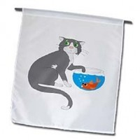Florene Childrens Art II - Adorable Cat With Paw In Fish Bowl - 12 x 18 inch Garden Flag (fl_44788_1)