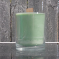 green unscented soy glass jar container, 6 ounce soy candle