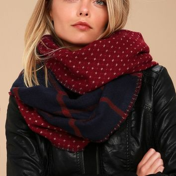 Albany Burgundy Reversible Print Scarf