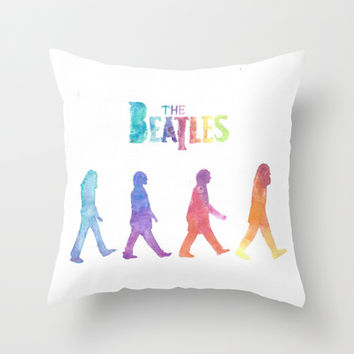 The Beatles Throw Pillow by S. L. Hurd