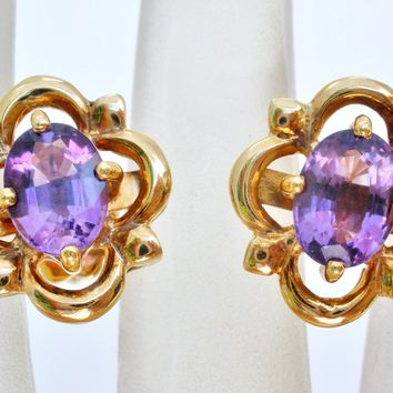 18K Yellow Gold 2.5 Ct Amethyst Earrings