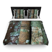 """Susan Sanders """"Into the Woods"""" Brown Rustic Woven Duvet Cover"""