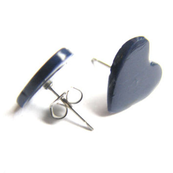 Navy Blue Heart Stud Earrings -Polymer Clay Heart Post Earring, Valentines Day Jewelry