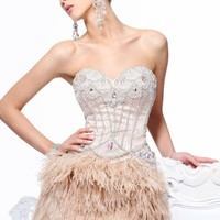 Mid Thigh Feathered Skirt Dress by Sherri Hill