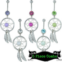 Dreamcatcher CZ Bead Belly Ring Value Pack