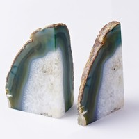 Agate Bookends, Set of 2, Natural
