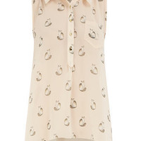 Ivory cat print dip hem blouse - Fashion Tops - Clothing - Dorothy Perkins United States