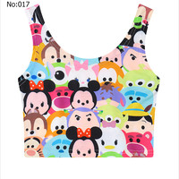 Sexy Short Girls Crop Top Cartoon Collage Printed Casual Sports Jogging Women Bare Midriff Tank Top