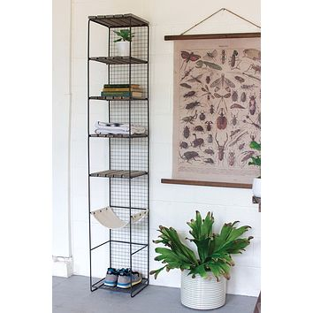 Wood & Metal Storage Tower With Canvas Sling Shelf