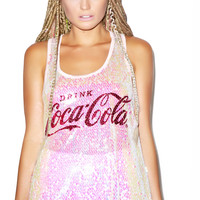Classic Drink Coca Cola Long Sequin Tank Pink