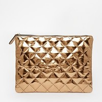 ASOS Metallic Quilted Clutch Bag