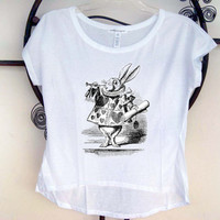 Custom Printed Shirt  Alice in Wonderland rabbit by SamsaraPrints