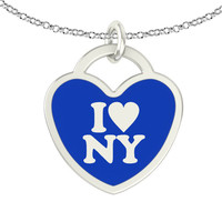 I Love New York Sterling Silver Heart Necklace