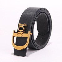 DIOR Newest Hot Sale Women Personality Multicolor Metal Buckle Leather Belt Black