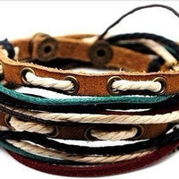Jewelry bangle leather bracelet leather cuff bracelet hemp ropes cuff woven bracelet women leather bracelet mother's day gift = 1932059332