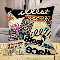 Hello Kitty Illest Logo Side on Square Pillow Cover