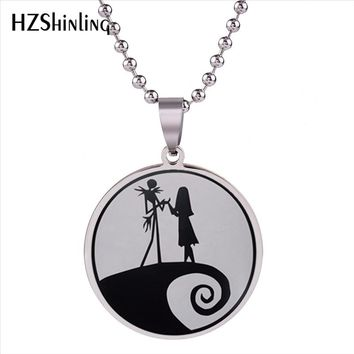 2018 New Nightmare Before Christmas Pendant Necklace Sally and Jack Pendants Stainless Steel Necklaces For Men Women Fashion HZ7