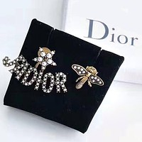 DIOR Hot Sale Women Stylish Letter Bee Pearl Earrings Accessories Jewelry