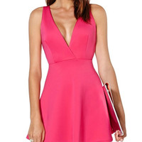 V-Neck Cross Back Zippered Dress