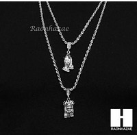 """MEN JESUS FACE PRAYING HANDS 24"""" 30"""" ROPE CHAIN NECKLACES COMBO SET G38"""