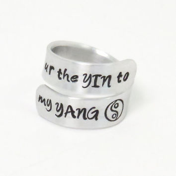 Yin yang ring - you are the yin to my yang ring - U R the yin to my yang ring - girlfriend ring relationship ring couple promise ring