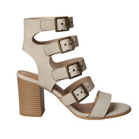 Serena Leather Buckle Strap Heels-FINAL SALE