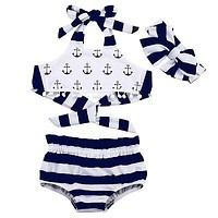 Baby Girl Clothes Anchor Cotton Tank Striped Briefs Outfits +Headband