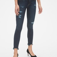 Mid Rise Favorite Ankle Jeggings with Raw Hem | Gap