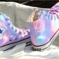 multicolor painted shoes converse - Gradient sky hand-painted shoes Girls