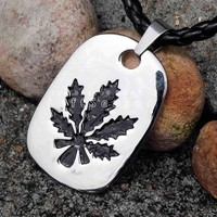 Stainless Steel Vintage Weed Charm Pendant + Leather Necklace
