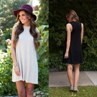 High Necked Sleeveless Knit Dress