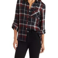 Burgundy Cmb Plaid Button Up Shirt by Charlotte Russe