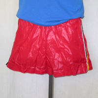 Vintage Deadstock 70s ATHLETIC SURF BEACH Swim Shiny Red Work Out Gym Small Medium Nylon Lined Shorts