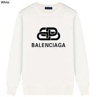 Balenciaga Tide brand headband men and women interlocking double B letter long sleeve round neck sweater white