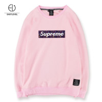 Long Sleeve Printed T-Shirt Men's Cotton Round Collar Letter Fashionable Men's Simple Top Loose Large Size Pink