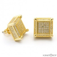 Iced Out Mens 14K Gold Cube Earrings